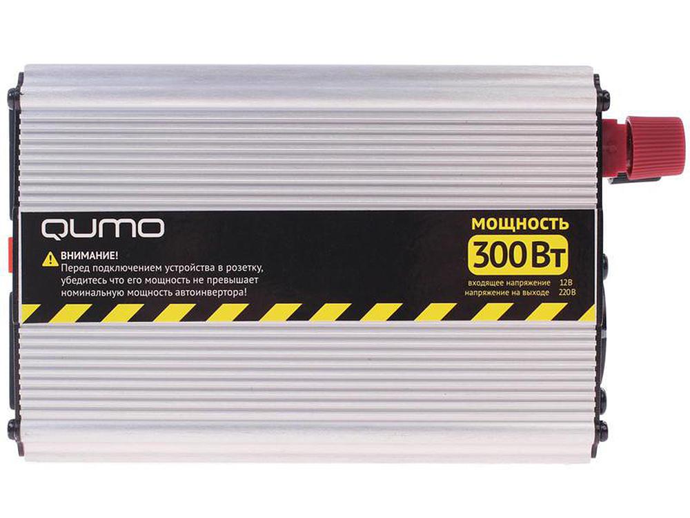Автомобильный инвертор Qumo (16184) 12>220v/300W в прикуриватель и к аккумулятору, USB выход,система защиты автомобильный инвертор rexant 12v 220v c usb