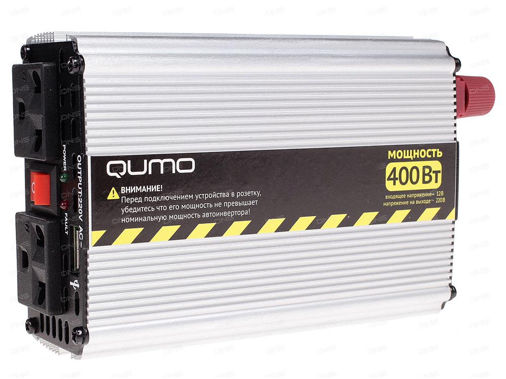 Автомобильный инвертор Qumo (16582) 12>220v/400W в прикуриватель и к аккумулятору, USB выход,система защиты автомобильный инвертор rexant 12v 220v c usb
