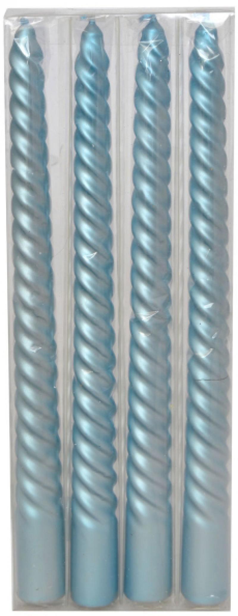 Набор свечей КЛАССИКА, голубые, 24,5*2,3 см, 4 шт в прозрач.кор, парафин набор свечей winter wings классика цвет голубой высота 25 см 4 шт