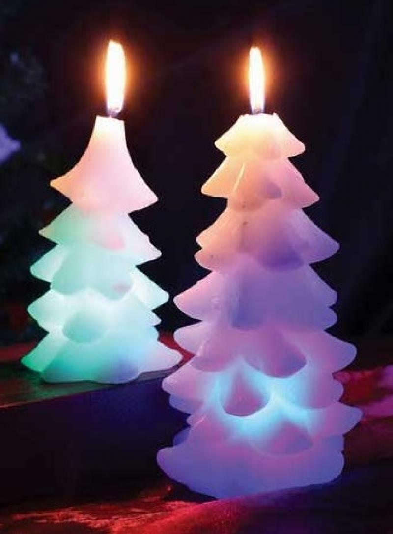 Свеча ЕЛОЧКА, светящаяся, 16 см свеча вязанная елочка