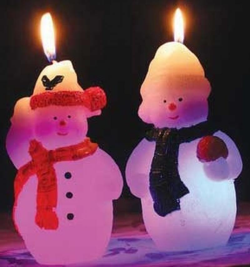 Свеча СНЕГОВИК, светящаяся внутри, 7х12 см свеча winter wings снеговик светящаяся внутри 70х120 мм n161412 в ассортименте