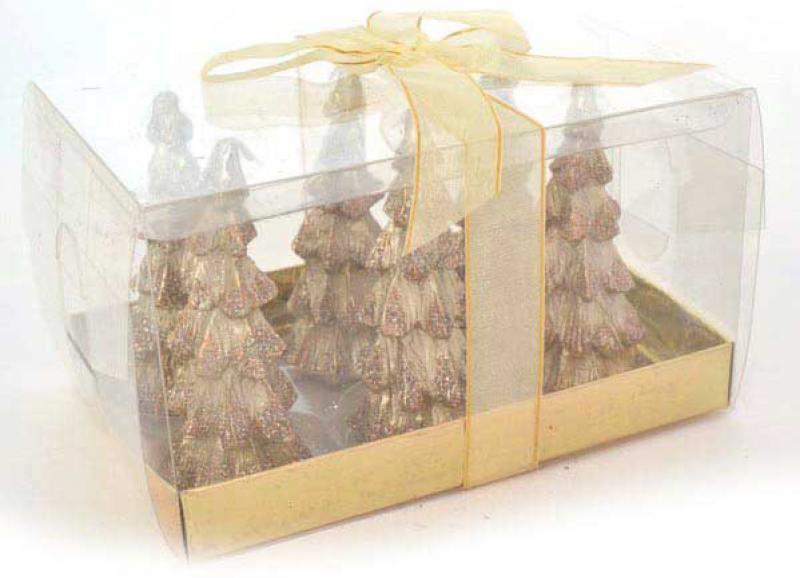 Набор свечей ЕЛОЧКА с блестящ.крошкой, 6 шт, 3*8,5 см, в прозр коробке набор свечей winter wings елочка с блестящей крошкой 6 шт 3х8 5 см