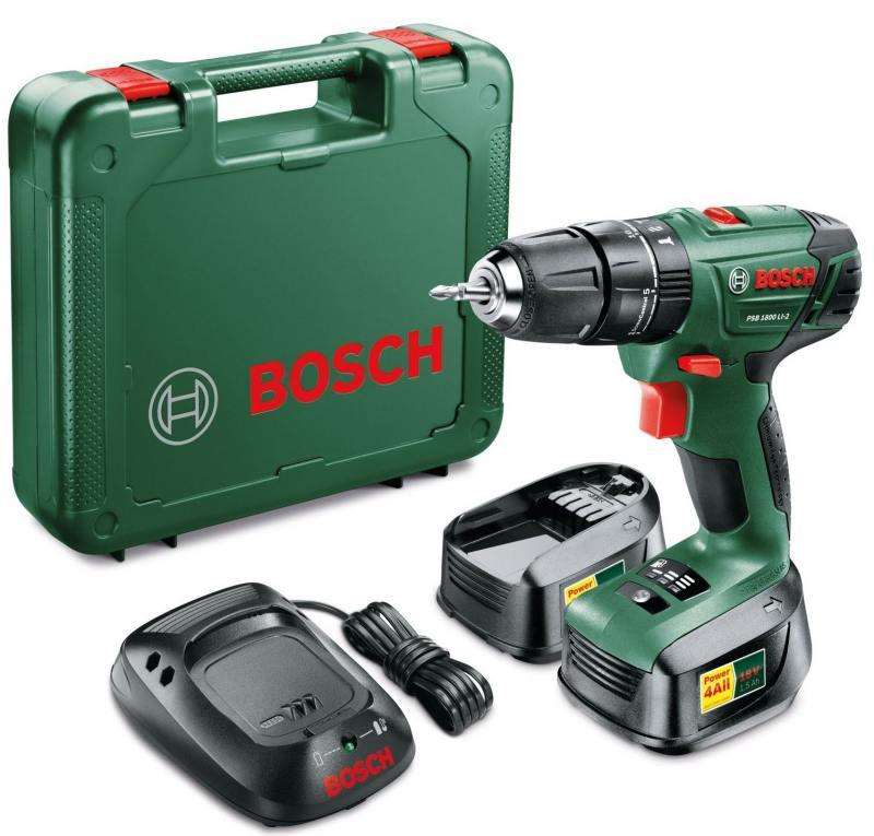 Аккумуляторная дрель-шуруповерт Bosch PSB 1800 LI-2 БЗП 2 BAT электроинструмент bosch psb 1800 li 2 06039a3321