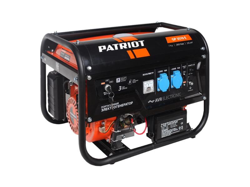 Генератор Patriot GP 3510E бензиновый генератор бензиновый patriot gp 3510e