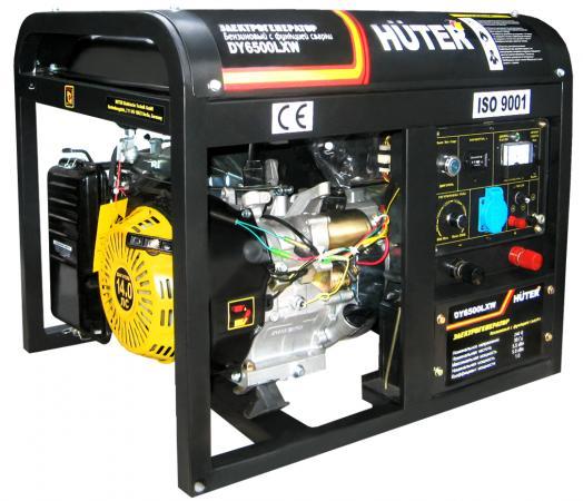 Бензоэлектростанция HUTER DY6500LXW 5,0кВт 50Гц бак22л 374г/кВтч ф-я сварки 60-200А колёса