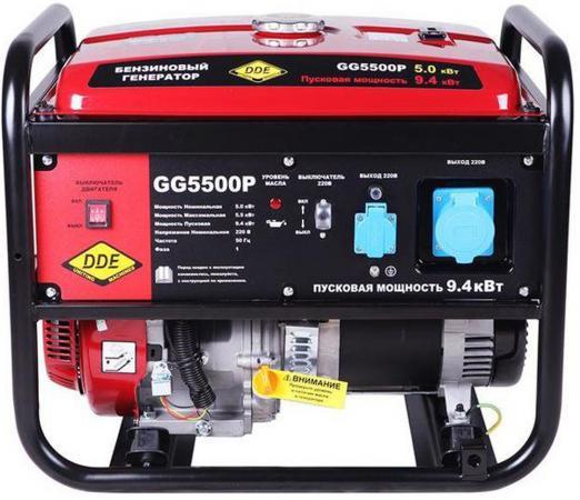 Генератор бензиновый DDE GG5500P однофазн.ном/макс. 5,0/5,5/9.4 кВт (DDE H188F, т/бак 25л,, 82кг) бензиновый генератор dde dpg5501e