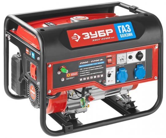 Генератор ЗУБР ЗЭСГ-2200-М2 комби газ+бензин 4-х такт 220/12В 2200/2000Вт ручн.пуск