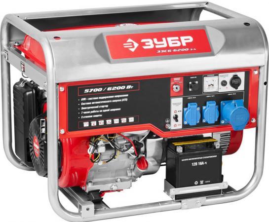 Бензиновый генератор ЗУБР ЗЭСБ-6200-ЭА 6200/5700Вт 220/12В 4ткт ручной и эл.пуск автопуск генератор бензиновый зубр зиг 1200