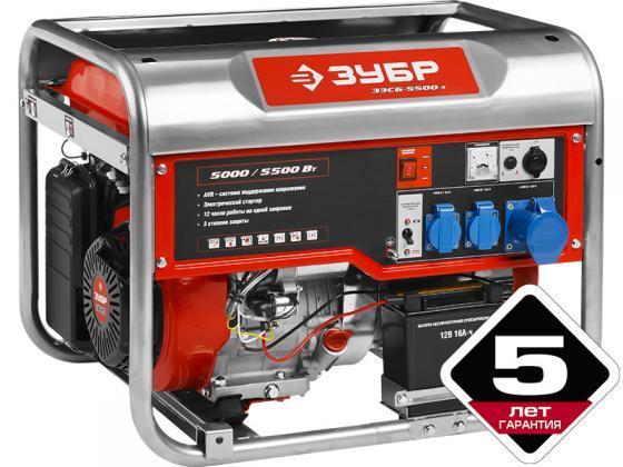 Генератор ЗУБР ЗЭСБ-5500-ЭА бензиновый 4-х тактный ручной и электрический пуск автоматический пуск генератор бензиновый зубр зиг 1200