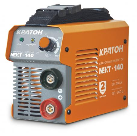 Инвертор КРАТОН NEXT-140 MMA IGBT 20-140А ПВ 60% 130-260в электроды 1.6-3.2мм 3.35кг