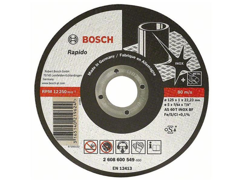 Отрезной круг Bosch Inox 125х1мм 2608600549 отрезной круг bosch 125х1мм по металлу 2608603396