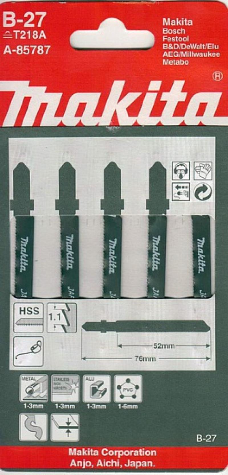 Лобзиковая пилка Makita A-85787 5шт набор пилок для лобзика makita a 85787