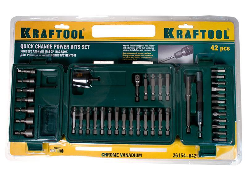 Набор бит Kraftool 42шт 26154-H42 набор бит kraftool expert 26131 h18