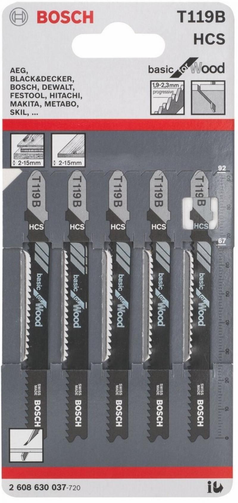 Лобзиковая пилка Bosch T119 B HCS 5 шт 2608630037 пилки для лобзика bosch t119 b hss 5 шт 2 608 630 037