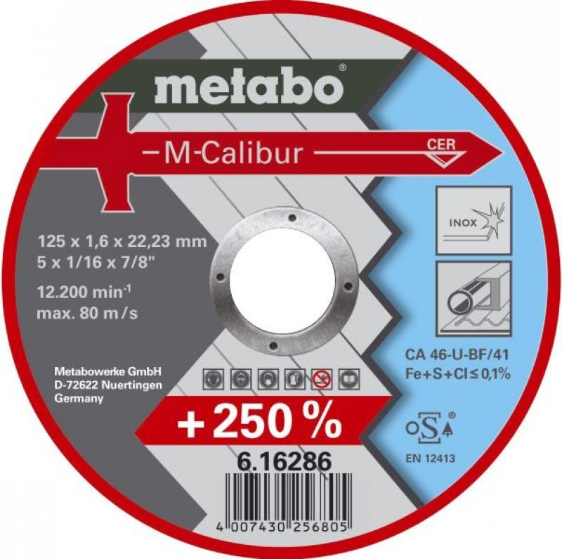 Отрезной круг MetaboM-Calibur125x1.6 мм 616286000 компрессор metabo power 250 10 w of 601544000
