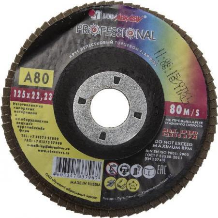 Круг лепестковый торцевой абразивный Луга для шлифования 125х22.23мм зерно P80 3656-125-80