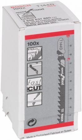 Лобзиковая пилка Bosch T 144 D HCS 100шт 2608637880 лобзиковая пилка bosch u 144 d hcs 2608630568