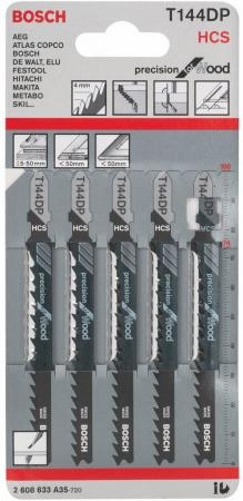 Лобзиковая пилка Bosch T 144 DP HCS 5шт 2608633A35 пилка лобзиковая t 119 во 5 шт hcs hawera f00y240531
