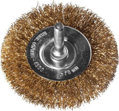 Кордщетка DEXX 35110-075 дисковая со шпилькой витая сталь0.3мм d75мм кордщетка dexx 35110 100 дисковая со шпилькой витая сталь0 3мм d100мм