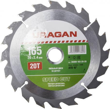 Круг пильный твердосплавный URAGAN 36800-165-20-20 быстрый рез по дереву 165х20мм 20т