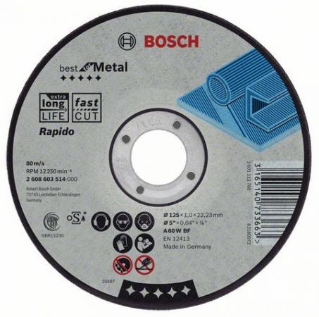 Круг отрезной BOSCH Best for Metal 115x1,0x22 (2.608.603.512) по металлу круг отрезной bosch 115х1 5х22 best for metal 2 608 603 517