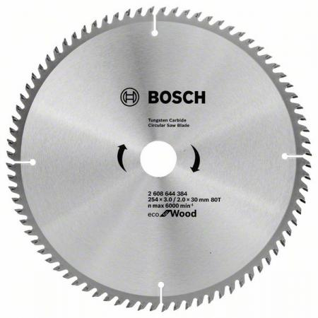 Диск пильный твердосплавный BOSCH ECO WO 254x30-80T (2.608.644.384) по дереву диск пильный твердосплавный bosch eco wo 254x30 40t 2 608 644 383 по дереву