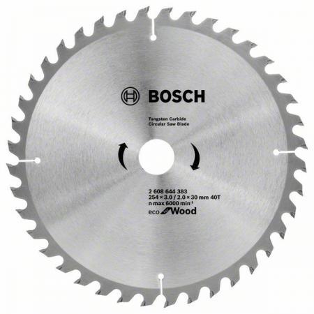 Диск пильный твердосплавный BOSCH ECO WO 254x30-40T (2.608.644.383) по дереву диск пильный твердосплавный bosch eco wo 254x30 40t 2 608 644 383 по дереву
