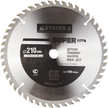 Круг пильный твердосплавный STAYER MASTER 3682-210-30-48 super-line по дереву 210х30мм 48T ножовка по дереву stayer master super cut