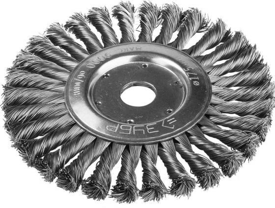 Кордщетка ЗУБР 35190-175_z01 ЭКСПЕРТ дисковая для УШМ плетеные пучки сталь 0.5мм 175мм/22мм