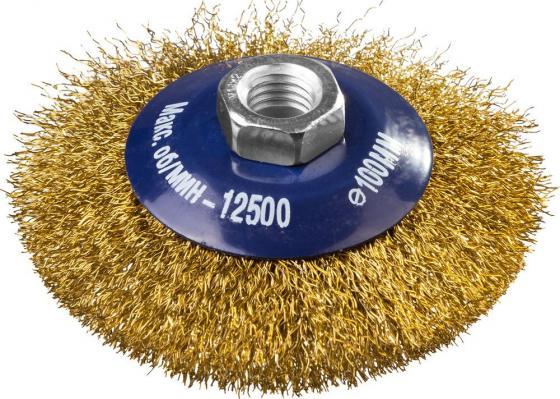 Кордщетка DEXX 35105-100 коническая М14 для УШМ витая сталь0.3мм d100мм кордщетка dexx 35110 100 дисковая со шпилькой витая сталь0 3мм d100мм