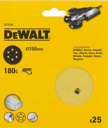 Круг фибровый DeWALT DT3136-QZ для эксц.шлифмашин, 150мм, 6 отв., 180G, 25шт. cogi 180g