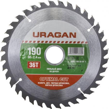 Круг пильный твердосплавный URAGAN 36801-190-30-36 оптимальный рез по дереву 190х30мм 36т
