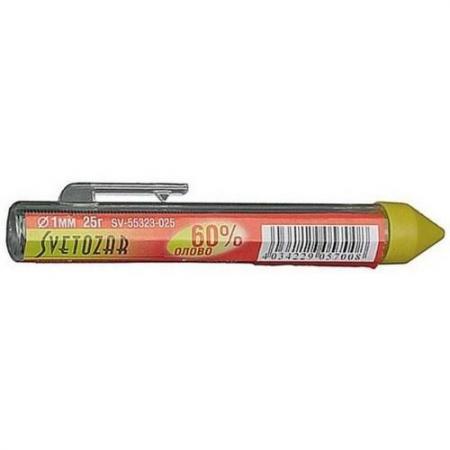 Припой СВЕТОЗАР SV-55323-025 оловянно-свинцовый 60% sn / 40% pb 25гр звонок электрический с кнопкой светозар нота 58037