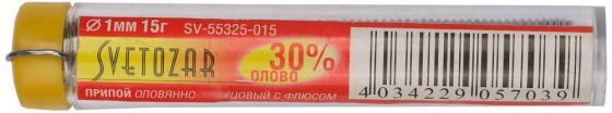 Припой СВЕТОЗАР SV-55325-015 оловянно-свинцовый 30% sn / 70% pb 15гр цена