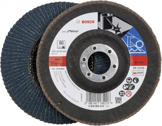Лепестковый диск Bosch 125мм K60 Best for Metal 2608606923 шлифленты 75x457мм bosch k60 80 100 b f wood 3 шт 2608606040
