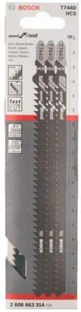 Пилки для лобзика BOSCH 2608663314 3шт. T 744 D HCS набор пилок для лобзика bosch t 744 d hcs