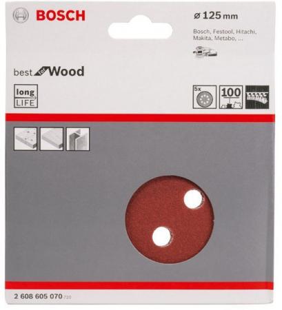 Набор шлифлистов Bosch O125 мм K100 B.f.W+P 5шт 2608605070