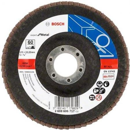 Лепестковый диск Bosch 125мм K60 E.f.Metal 2608606717 шлифленты 75x457мм bosch k60 80 100 b f wood 3 шт 2608606040