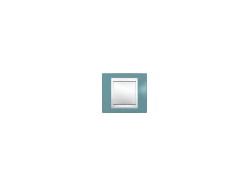Рамка 1 пост синий/бежевый Schneider Electric Unica MGU6.002.573 монтажная коробка для наружной проводки schneider electric unica 36мм 1 пост бежевый mgu8 002 25