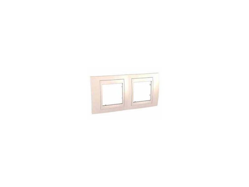 Рамка 2 пост бежевый с декоративным элементом schneider