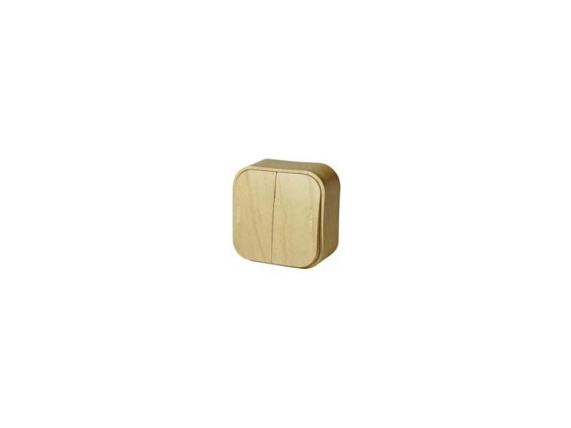 Выключатель Legrand Quteo 10А 2 клавиши дерево 782262 выключатель 2 клавишный наружный ip44 белый 10а quteo