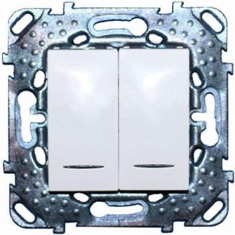 Выключатель Schneider Electric 2-клавишный с подсветкой белый MGU5.0101.18NZD выключатель schneider electric 1 клавишный белый sdn0100121