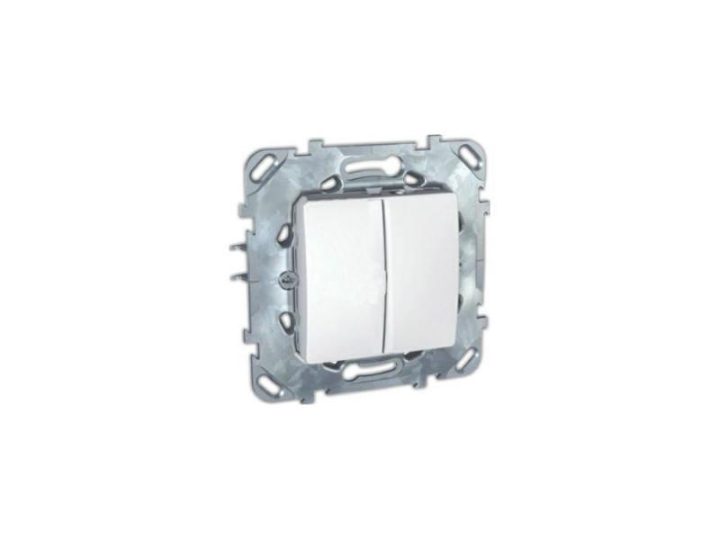 Выключатель Schneider Electric 2-клавишный белый MGU5.211.18ZD выключатель legrand quteo 2 клавишный серый 782332