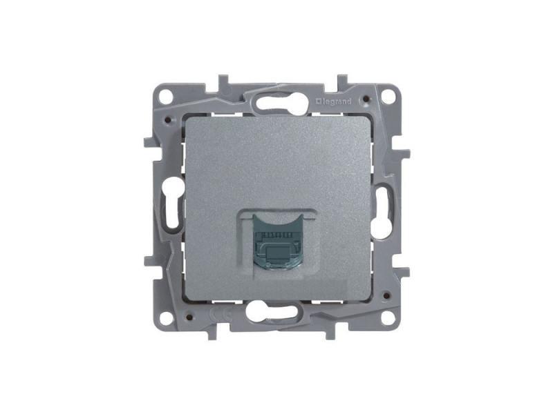 Розетка информационная Legrand Etika RJ45 кат.6 UTP алюминий 672453 розетка itk для rj45 utp кат 5е 1 выход белый cs2 1c5eu 12