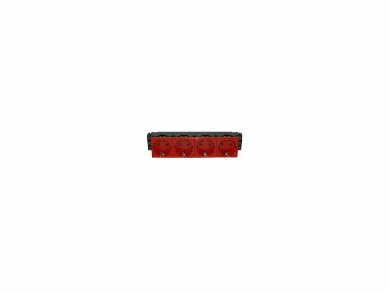 Розетка Legrand Mosaic 8М 4х2К+З красный 77614
