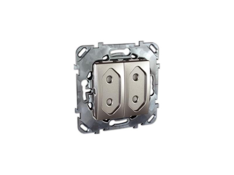 Розетка Schneider Electric электрическая двойная с защитными шторками алюминий MGU5.3131.30ZD schneider розетка электрическая sedna ip 44 с заземлением защитными шторками и крышкой винтовые клеммы алюминий