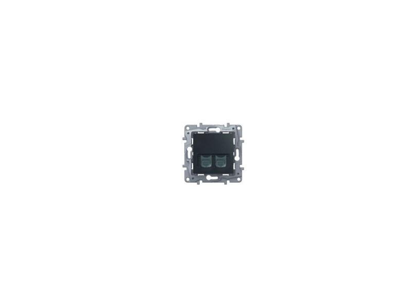 Розетка информационная Legrand Etika RJ11+RJ45 кат. 5 UTP антрацит 672652 розетка itk для rj45 utp кат 5е 1 выход белый cs2 1c5eu 12