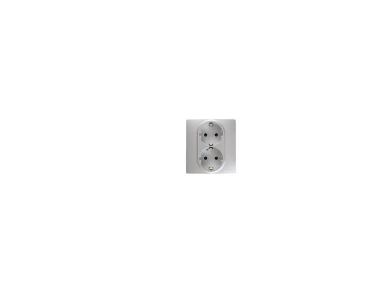Розетка электрическая Legrand Etika 22x2К+З со шторками алюминий 672433