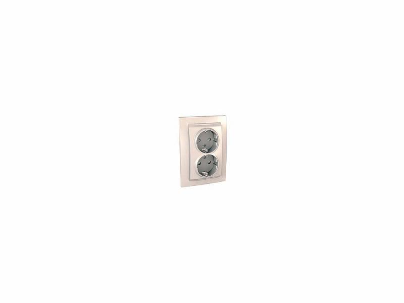 Розетка Schneider Electric электрическая двойная с защитными шторками литая бежевый MGU23.067.25D розетка schneider electric электрическая двойная с защитными шторками литая бежевый mgu23 067 25d