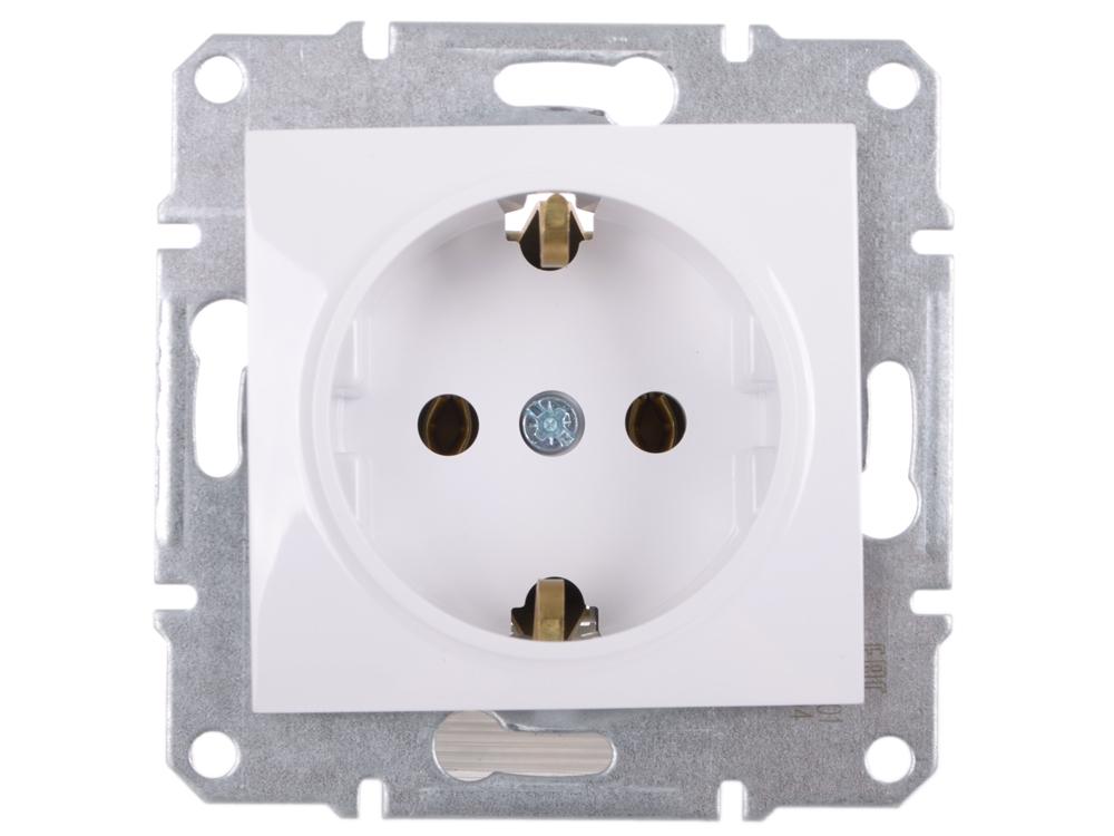 Розетка Schneider Electric с заземлением без шторок белый SDN3000521